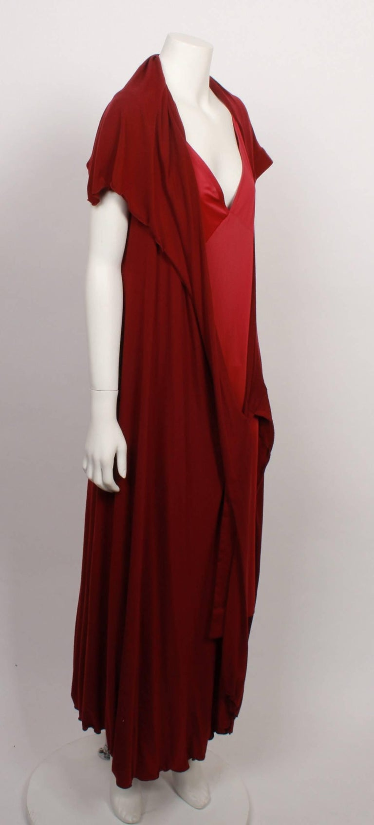 Issey Miyake Long Stretch Wrap and Under Slip Dress In Good Condition For Sale In Melbourne, Victoria