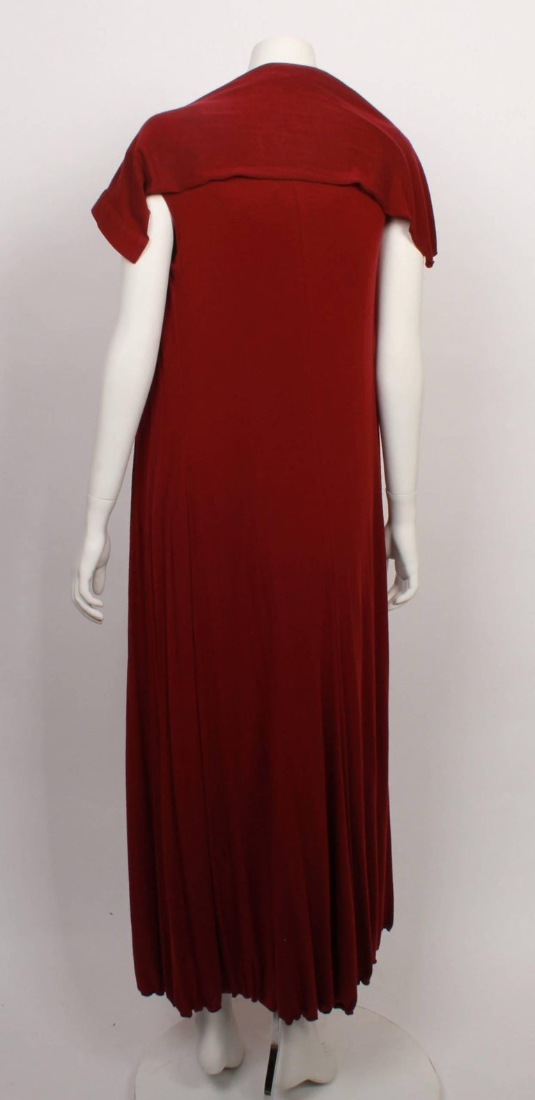 Red Issey Miyake Long Stretch Wrap and Under Slip Dress For Sale