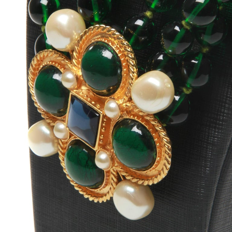 Chanel vintage large green necklace with brooch x4 green giproix stones In Good Condition For Sale In Melbourne, AU