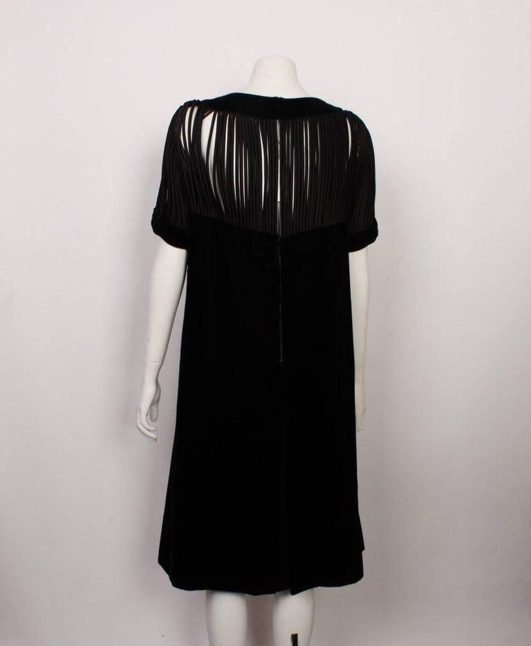 ebc2479e155 Black Pierre Balmain Velvet Cocktail Dress with Satin Rouleau Strip Panels  For Sale