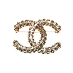 Chanel Iridescent Blue Tone CC Brooch