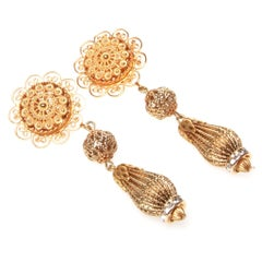 Dolce & Gabbana Gold and Swarovski Crystal Clip On Earrings