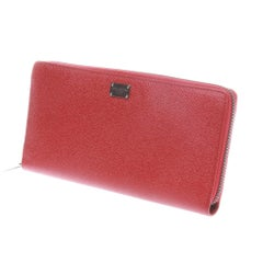 DOLCE & GABBANA red print zip around leather wallet