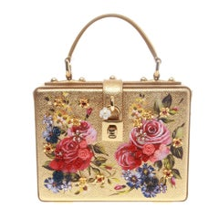 Dolce & Gabbana Gold Metallic Leather Boxy Rose Tote Bag