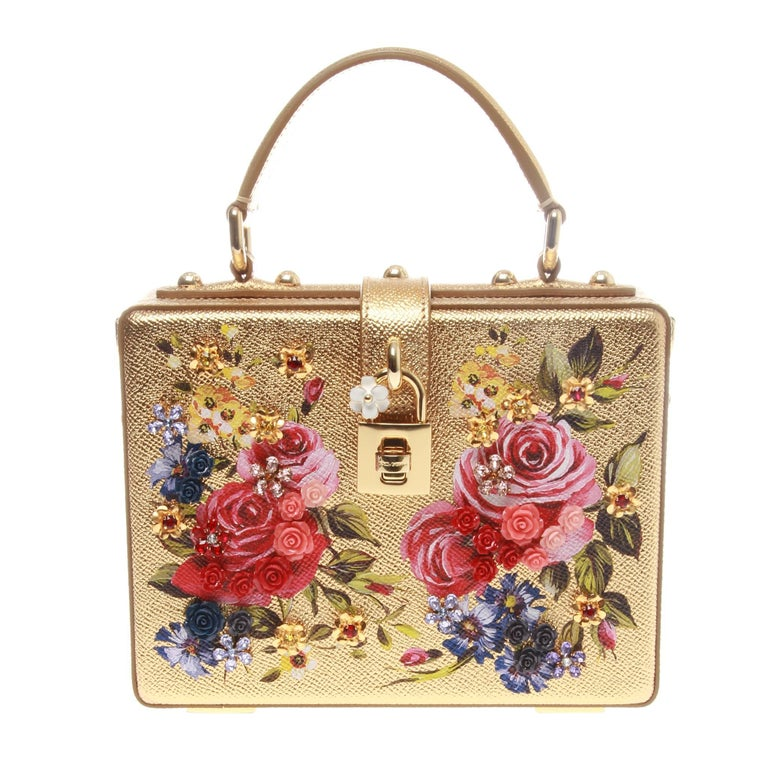 cdad5f3e01a5 Dolce and Gabbana Gold Metallic Leather Boxy Rose Tote Bag For Sale ...