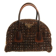 Prada Tessuto Wool Tweed Vitello Bowler Bag
