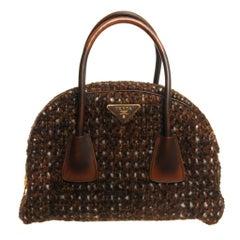 Prada Tessuto Wool Tweed Vitello Bowler Bag