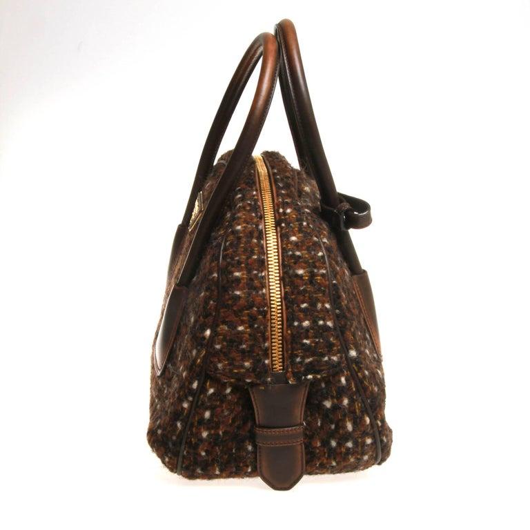 Black Prada Tessuto Wool Tweed Vitello Bowler Bag For Sale