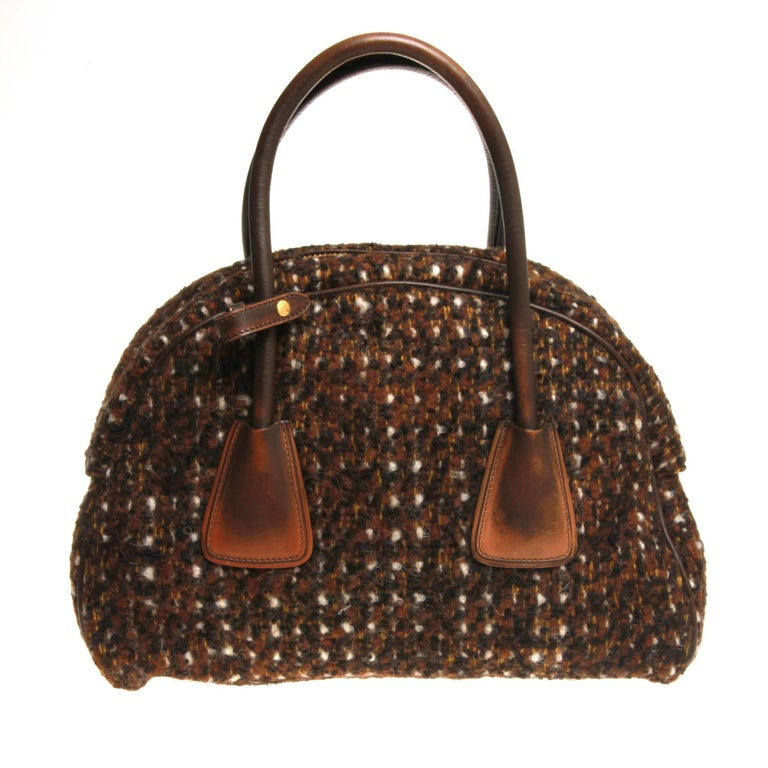 Prada Tessuto Wool Tweed Vitello Bowler Bag In Excellent Condition For Sale In Melbourne, Victoria