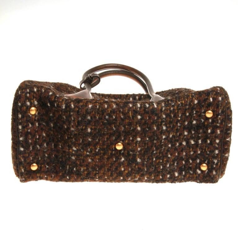 Prada Tessuto Wool Tweed Vitello Bowler Bag For Sale 2