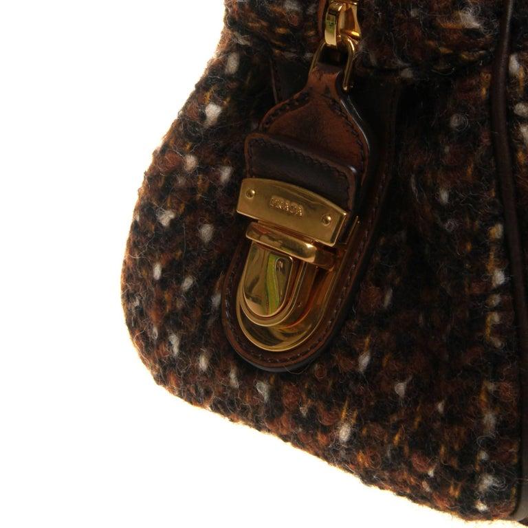Prada Tessuto Wool Tweed Vitello Bowler Bag For Sale 3