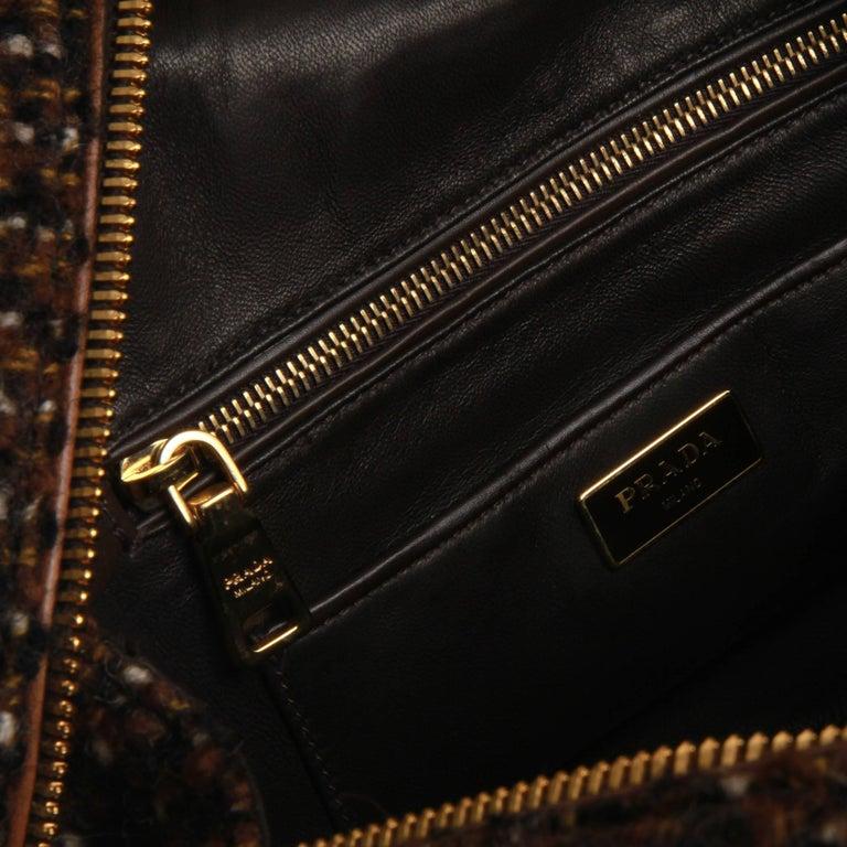 Prada Tessuto Wool Tweed Vitello Bowler Bag For Sale 1