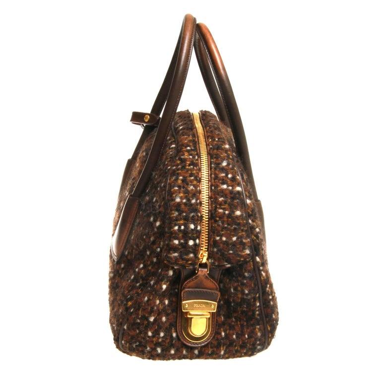 Women's or Men's Prada Tessuto Wool Tweed Vitello Bowler Bag For Sale