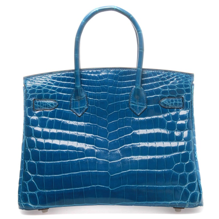 Blue Hermès Birkin 30 Crocodile Mykonos Bag  For Sale