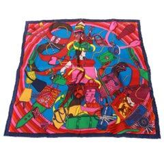 Hermes multicolour cuir silk pocket square