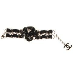 Chanel Black Enamel Camellia Bracelet