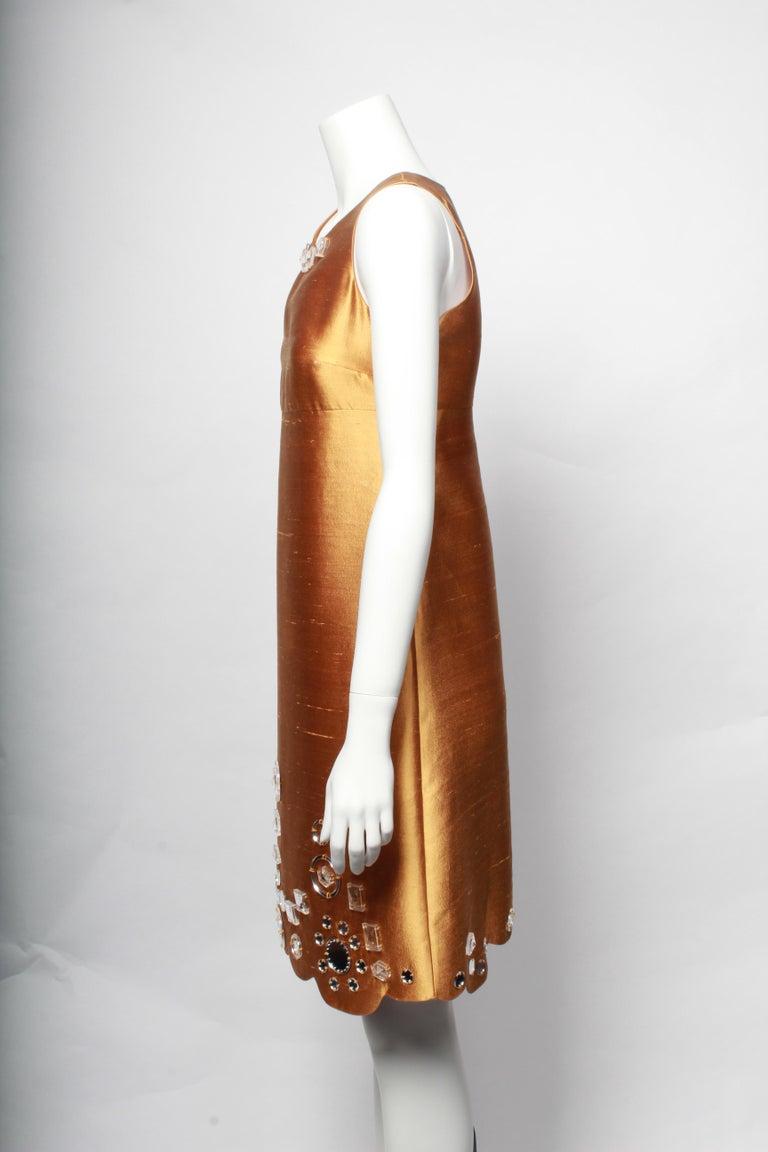Brown Miu Miu Gold Party Dress For Sale