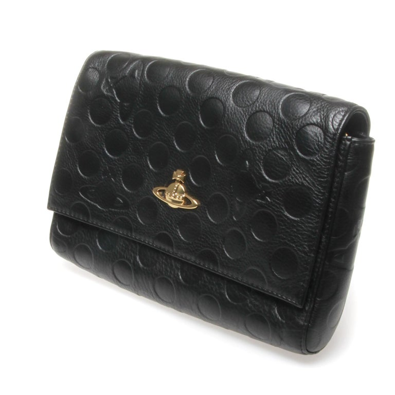 Vivienne Westwood polka dot embossed, black with gold hardware with strap