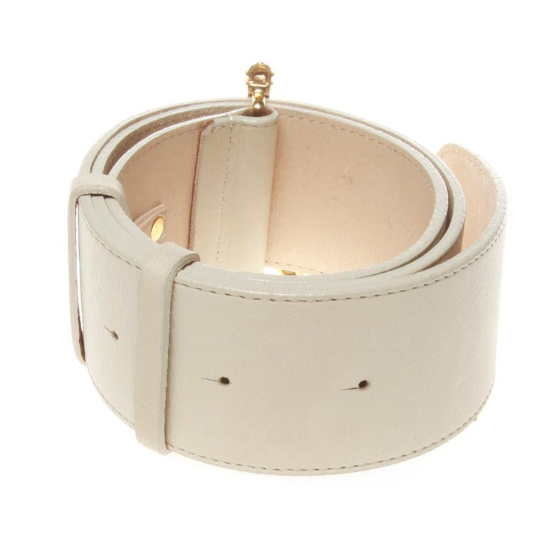 White Junko shimada white belt with Eiffel tower buckle For Sale