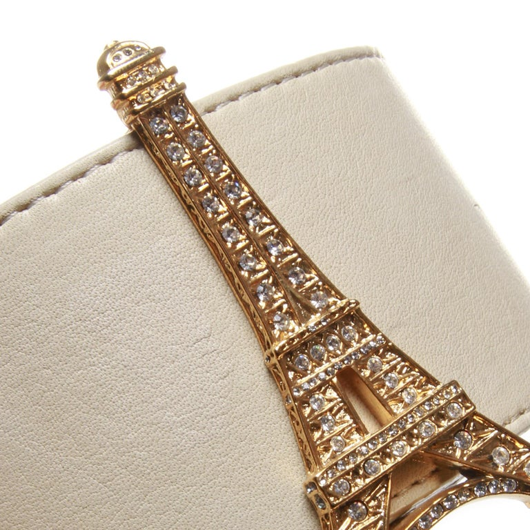 Junko shimada white belt with Eiffel tower buckle In Good Condition For Sale In Melbourne, Victoria