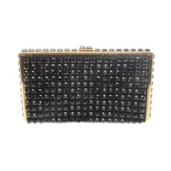 Valentino Garavani Black Beaded Crystal Evening Handbag Clutch