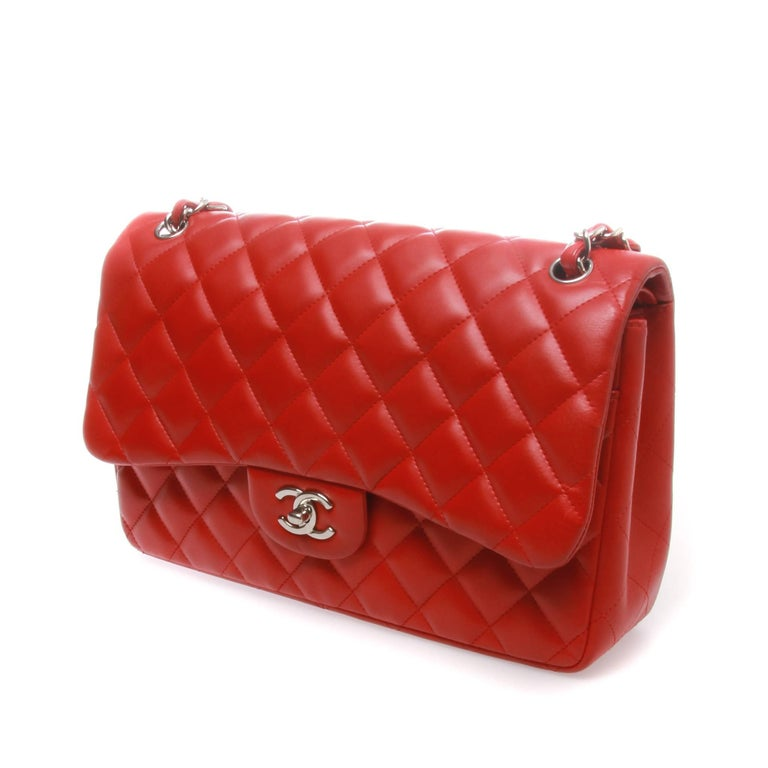 411c7e3667fd This Chanel dark red quilted lambskin leather classic jumbo double flap bag  is perhaps the most