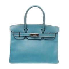 Hermès 30 Togo Blue Jean PHW Leather Birkin Handbag