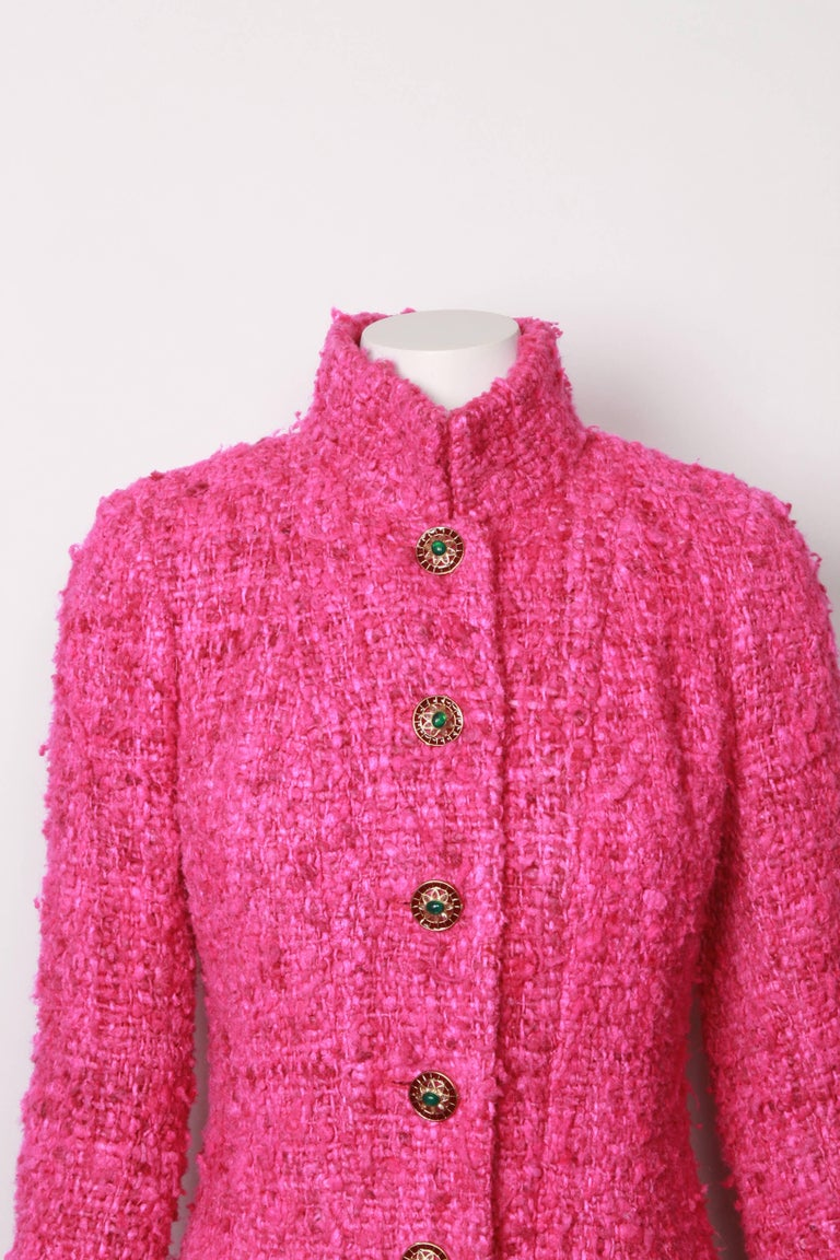 Rare Collectors runway jacket in pink boucle Lesage tweed with jewelled buttons. From the Pre Fall 2012 Maharaja Collection. Features beautiful jewelled buttons and detachable ivory and gold lurex cuffs. Fully lined in custom Chanel camelia silk and