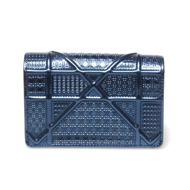 Women's Christian Dior Mini Blue Metallic Diorama Bag For Sale
