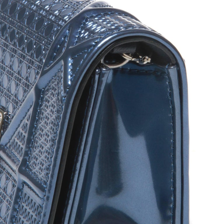 Christian Dior Mini Blue Metallic Diorama Bag In Excellent Condition For Sale In Melbourne, AU