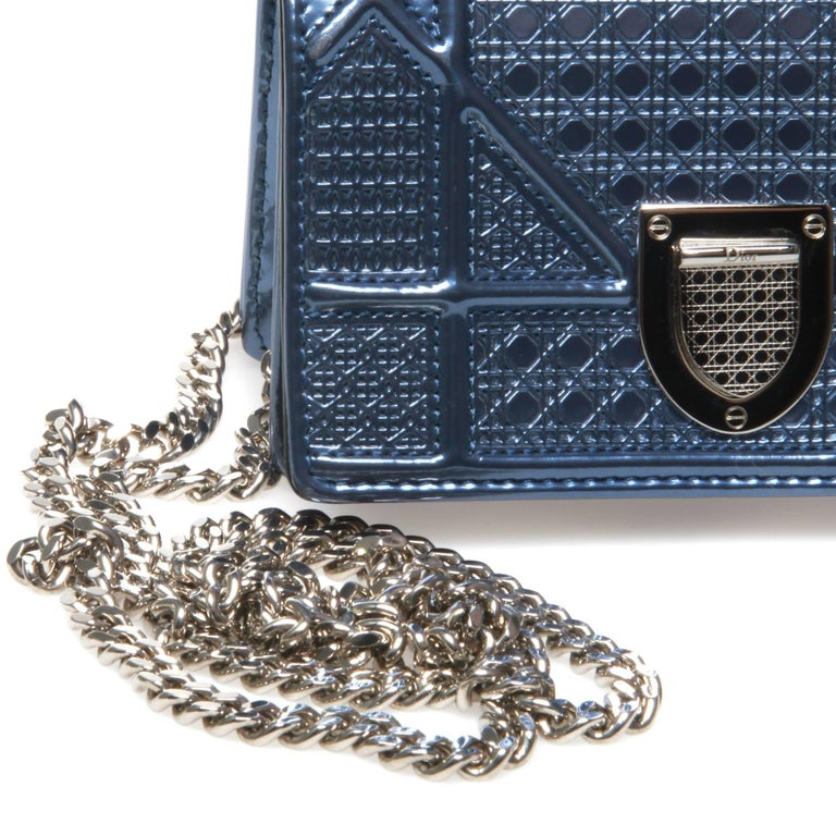 Christian Dior Mini Blue Metallic Diorama Bag For Sale 2