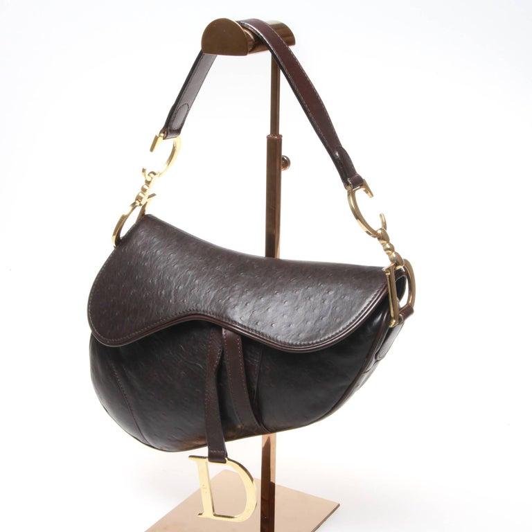 dior brown ostrich leather saddle bag for sale at 1stdibs. Black Bedroom Furniture Sets. Home Design Ideas