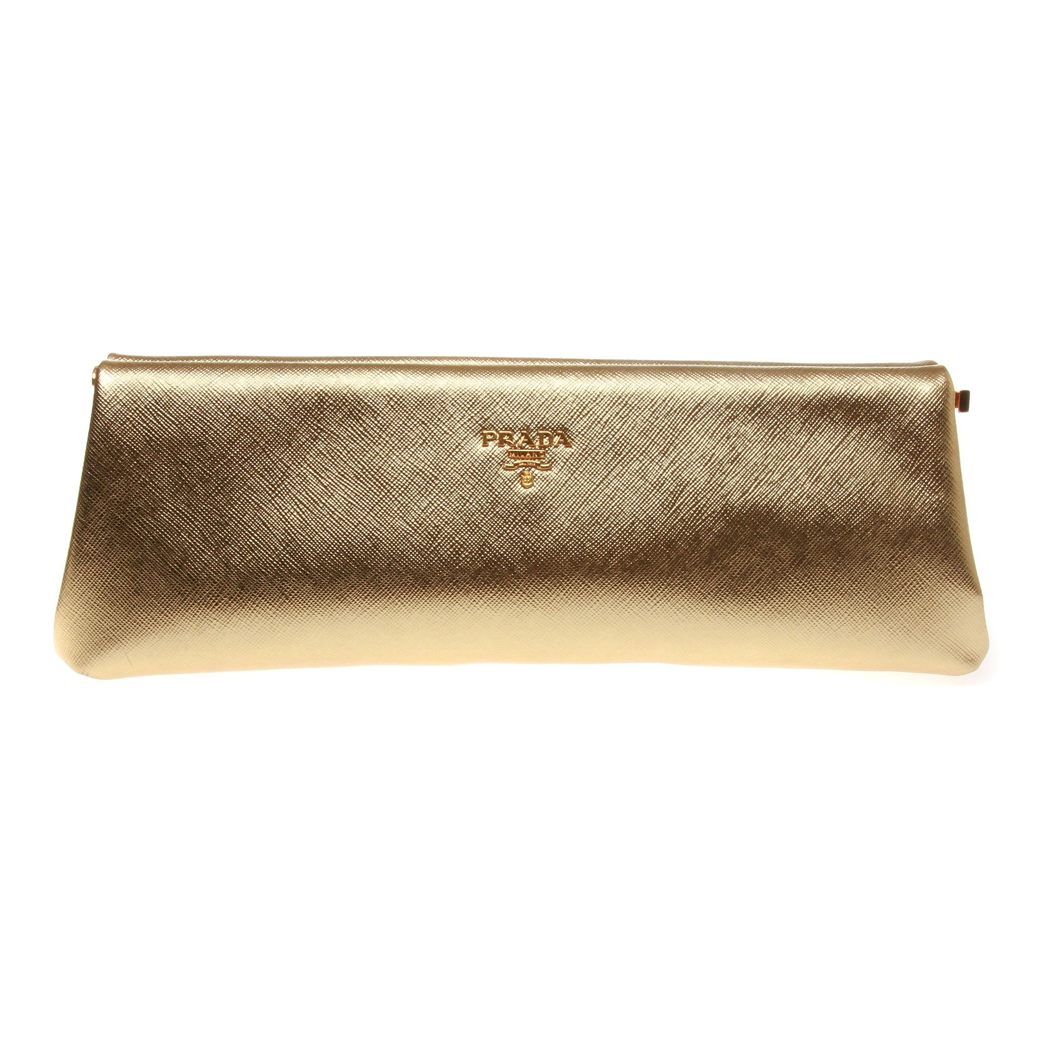 4b7452accb58 Prada Saffiano Gold Metallic Lux Frame Clutch at 1stdibs