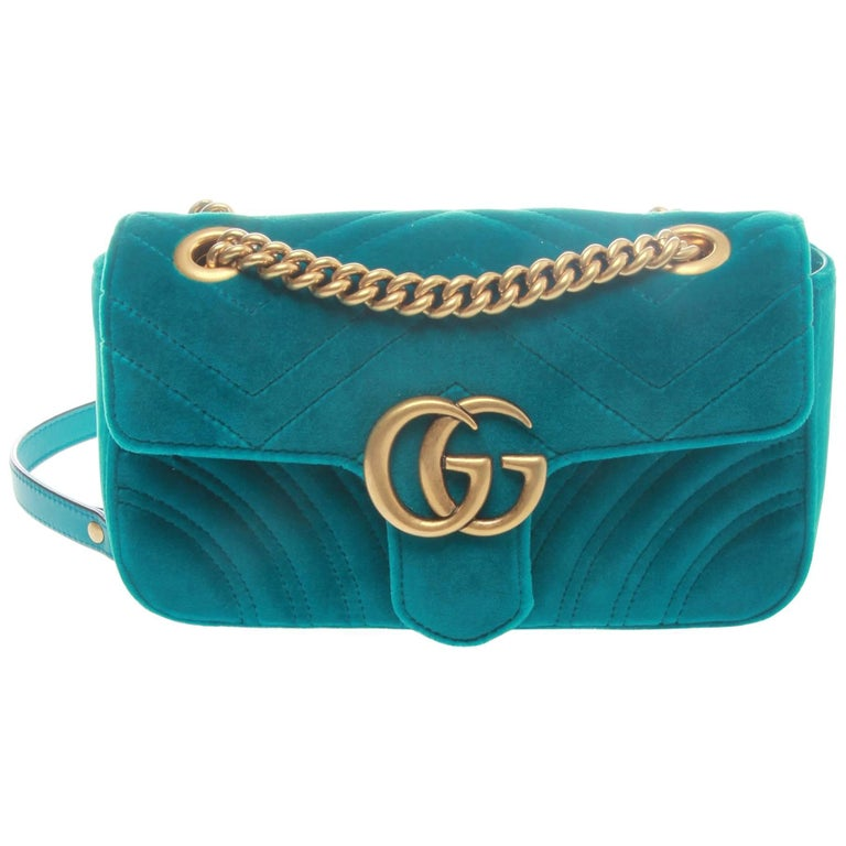 58dfbea0928d Gucci Marmont Petrol Blue Velvet Shoulder Crossbody Bag at 1stdibs