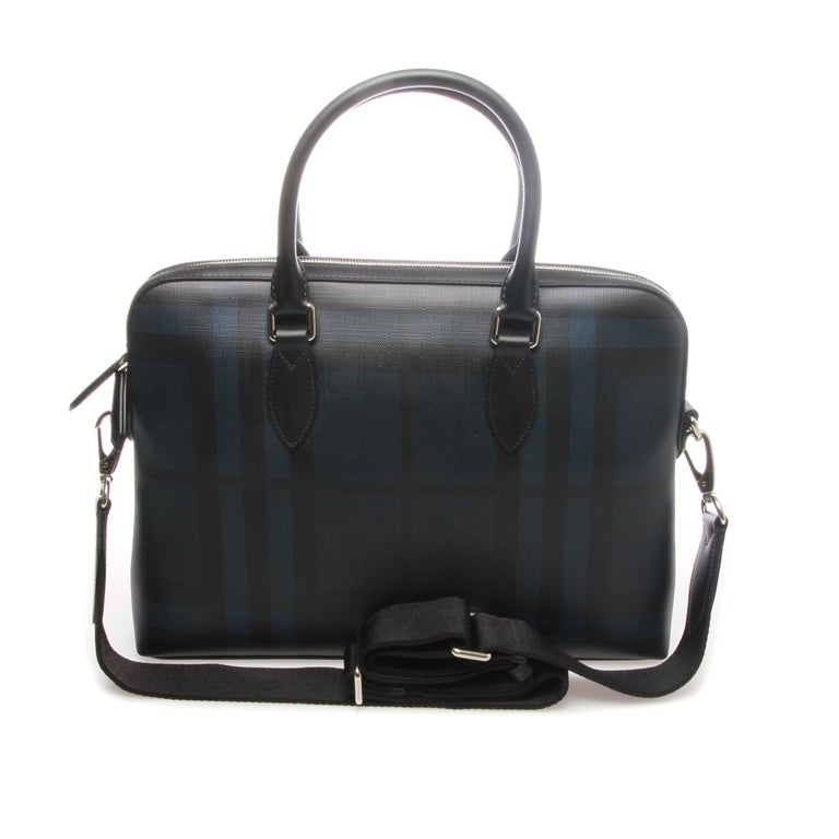 Black Burberry London Check Collection Barrow Simple Briefcase For Sale