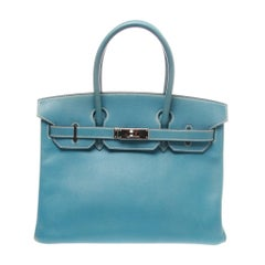 Hermès 30 Togo Blue Jean PHW Leather Birkin Handbag