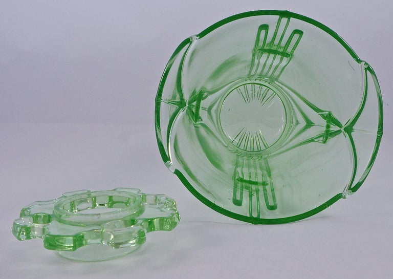 Gray Green Art Deco Pressed Glass Vase with Frog, 1930s  For Sale