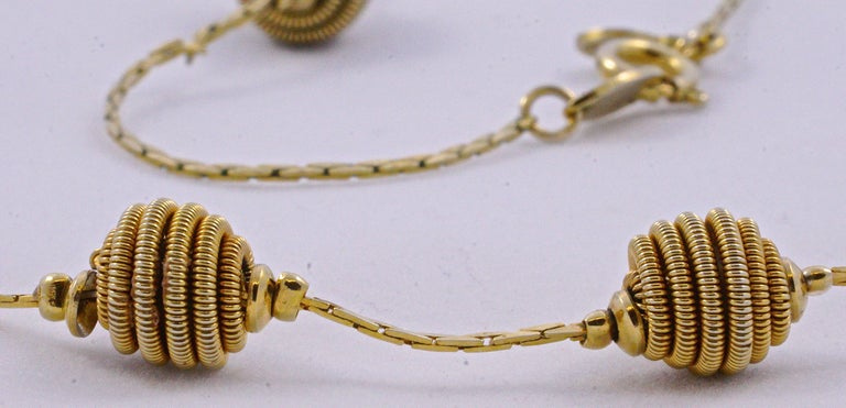 Monet Long Gold Tone Spiral Ball and Chain Necklace In Good Condition In London, GB