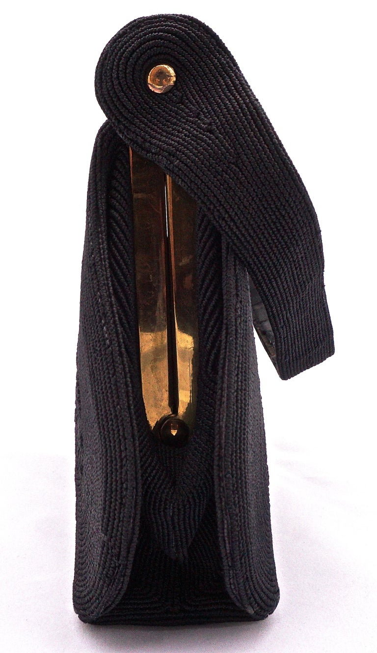 1940s Black Cordé Handbag with Gold Tone Metal Fittings, Made in England In Good Condition For Sale In London, GB