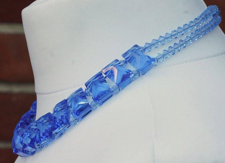 Women's Art Deco Blue Glass Necklace Collar For Sale