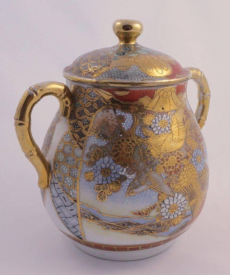 Brown Dai Nippon Meiji Period Antique Japanese Hand Painted Porcelain Jar For Sale