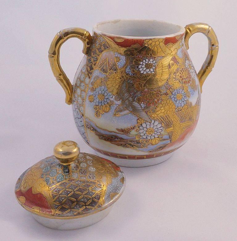 Women's or Men's Dai Nippon Meiji Period Antique Japanese Hand Painted Porcelain Jar For Sale