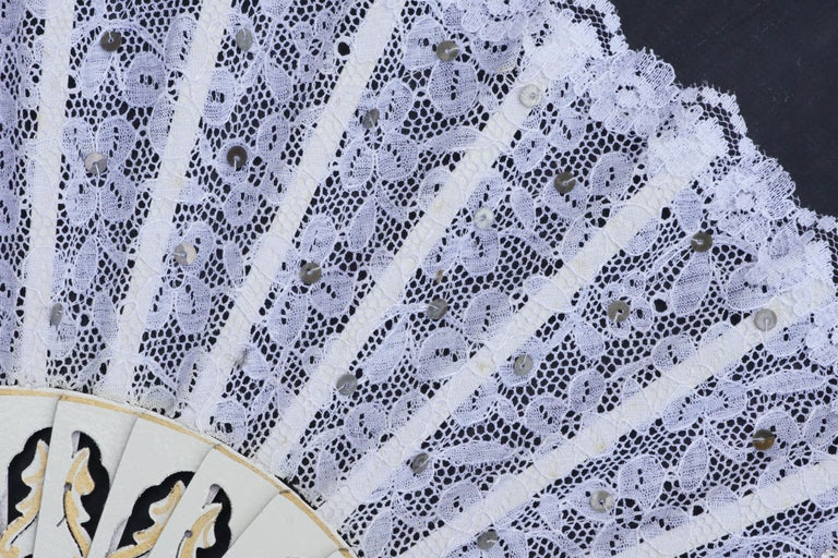 Gray Vintage White Lace Fan with Hand Sewn Silvery Sequins