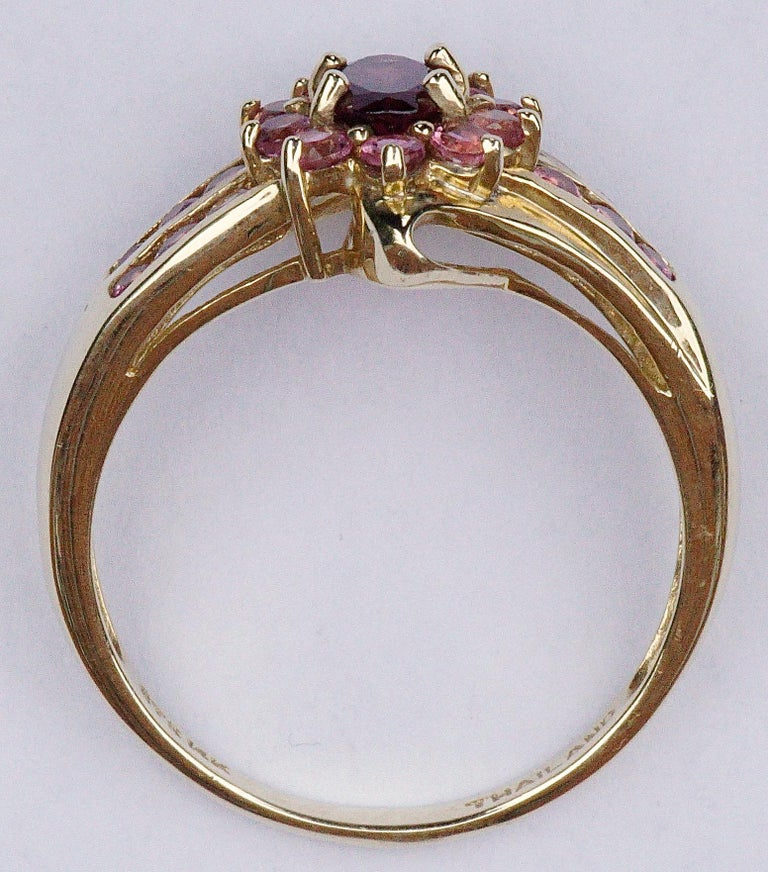 Women's Modern STS 14K Gold Deep Pink Tourmaline and Light Pink Gemstone Ring For Sale
