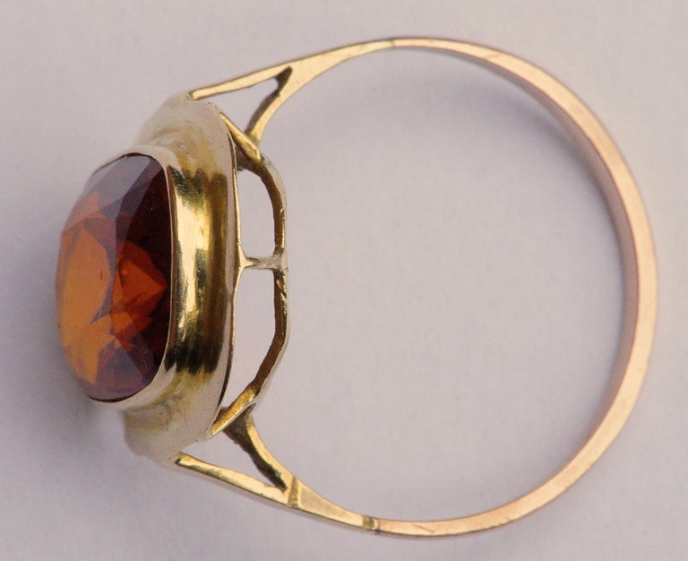 Women's Vintage 1950s 18ct Gold and Citrine Ring For Sale