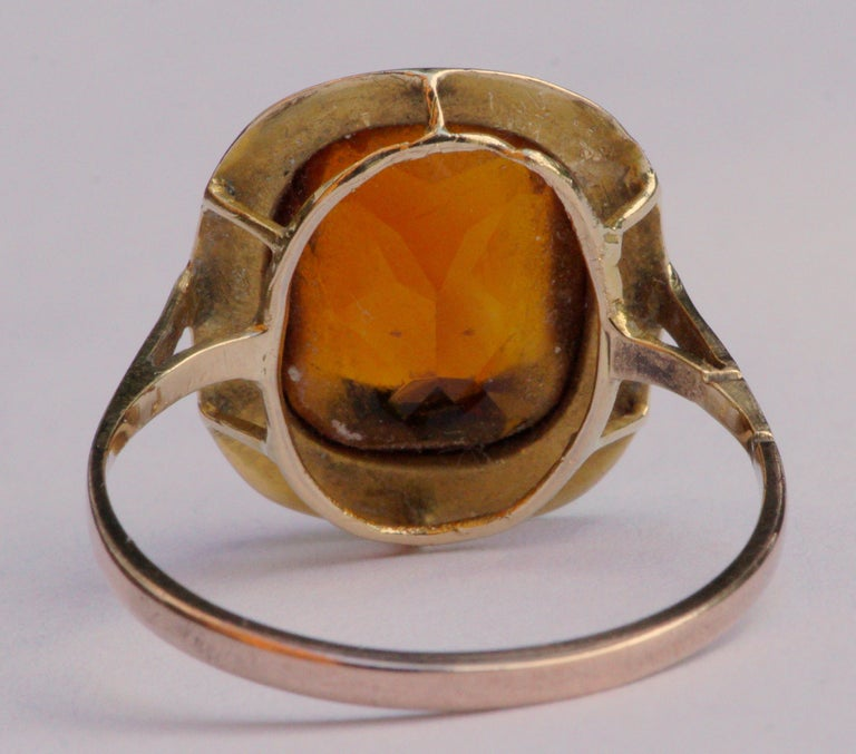Vintage 1950s 18ct Gold and Citrine Ring For Sale 1