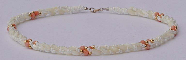 d4e16da838e47 Twisted Triple Strand Coral Mother-of-Pearl Vintage Bead Necklace