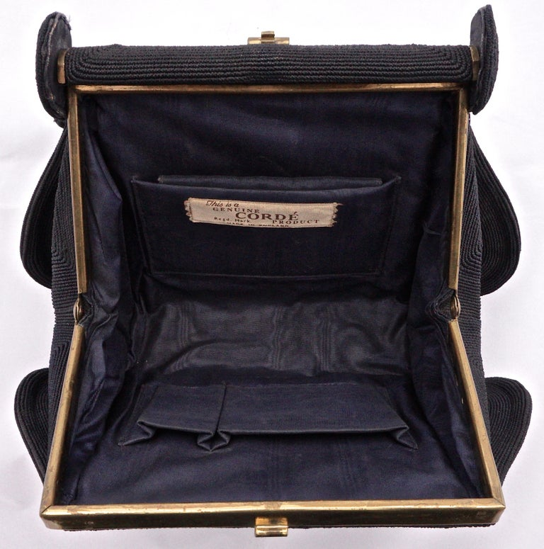 1940s Black Cordé Handbag with Gold Tone Metal Fittings, Made in England For Sale 1