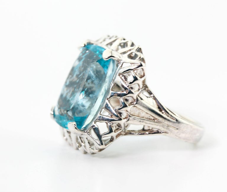 Unique Custom 8.25 Carat Aquamarine Cocktail Ring In New Condition For Sale In Tuxedo Park, NY