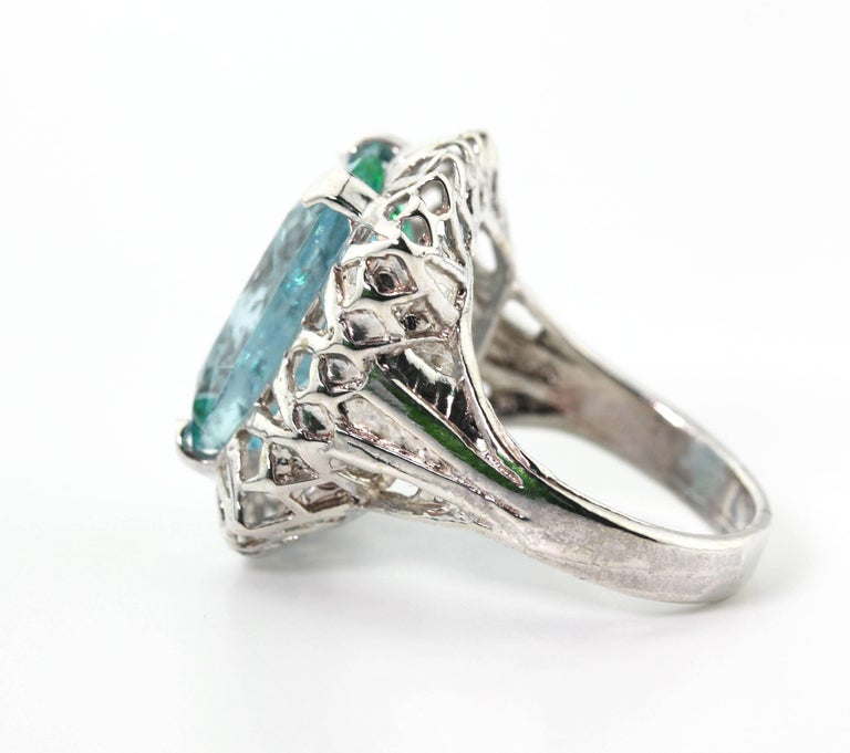Women's Unique Custom 8.25 Carat Aquamarine Cocktail Ring For Sale